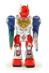 Colorful toy robot on white background. Front. Isolated.