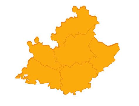 """carte """"paca"""" région France orange en relief vierge ou vide"""