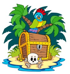 Photo sur Plexiglas Pirates Pirate island with treasure chest