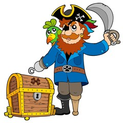 Poster Pirates Pirate with old treasure chest