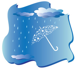 rain and umbrella - vector
