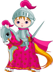 Photo sur cadre textile Super heros The Brave Knight on the horse