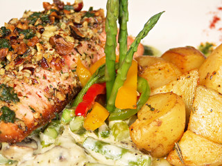 Hazelnut Herb Crusted Salmon