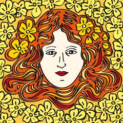 cara de mujer hippie