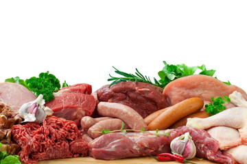 assorted raw meats