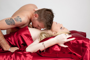 Lovers passionate kiss