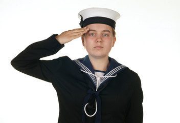 female sailor in navy isolated white