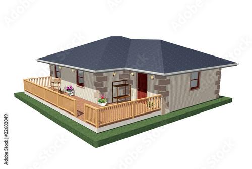 Casa con veranda house with a porch 3d stock photo and for Casa ranch con veranda