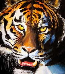 Tiger acrylic painted.