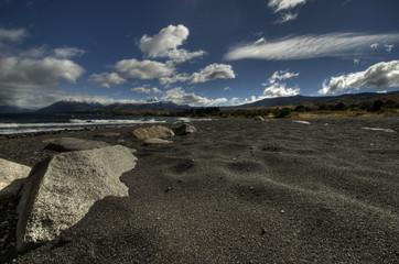volcanic sand (lake huechulafquen - lake district- argentina)