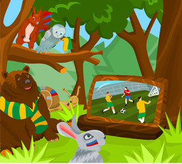 Poster Forest animals Soccer world cup - Animal fans