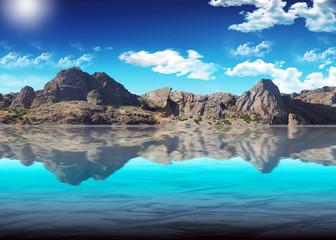 Beautiful kind of mountain Ridge against the blue pure sky