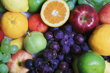 collection of  colorful fruits - background