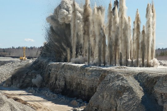 Blast in open cast mining quarry