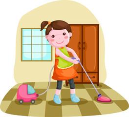 woman using vacuum cleanner