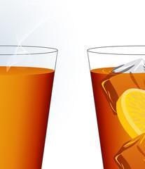 Ice tea and hot tea