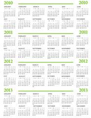 Calendar, New Year  2010, 2011, 2012, 2013