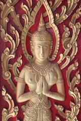 Carving on the window of temple, Borabue, Mahasarakam