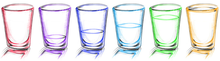 glass arranged in row