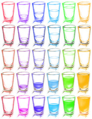 colorful glass arranged in row background
