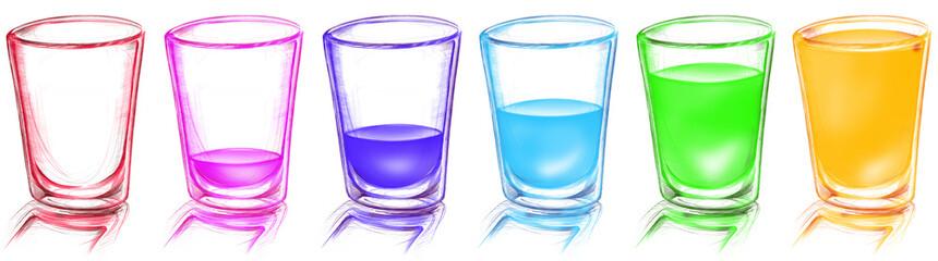 brightness glass arranged in row