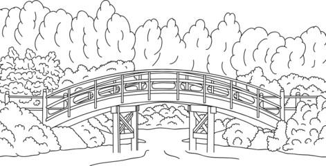 vector - Japanese garden with a bridge over water