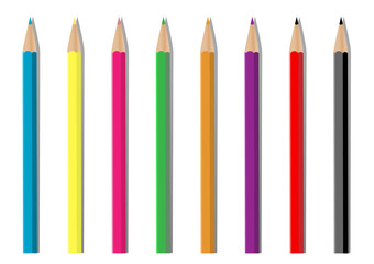 Illustration set of colored pencils