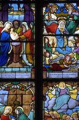 Photo sur Plexiglas Vitrail France, vitraux de l'église Saint Martin de Triel