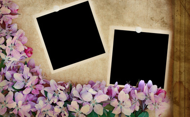 Grunge Floral Background with Blank Photos