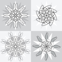 Vector Illustration of four different vector designs.