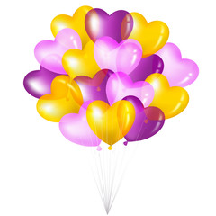 Bunch Of Colorful Heart Shape Balloons