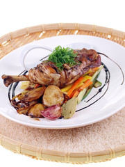 chicken adobo with salad isolated on white background