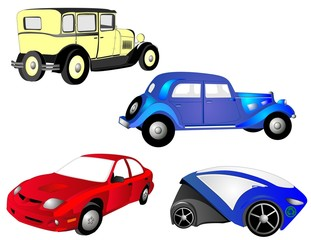 Papiers peints Cartoon voitures The past, present and future of cars, for transportation.