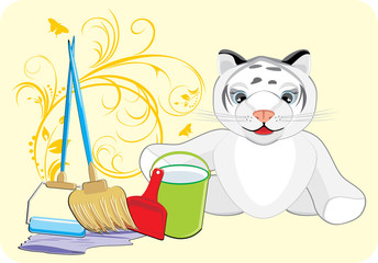 Little tiger with set for cleaning. Card. Vector