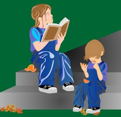 Sister reading to her sibling a book