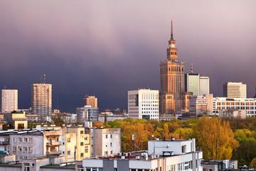 City Of Warsaw Downtown Skyline In Poland