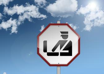 """Road Sign """"Customs / Border Control"""""""