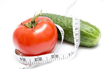 The tomato and cucumber wrapped with a meter