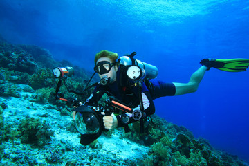 Scuba Diver with camera in the Red Sea