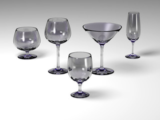 Five different empty glasses on a white floor