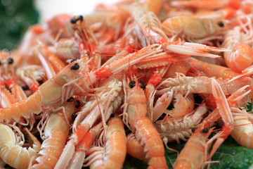 Boiled prawns on market