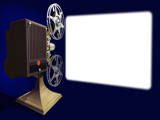 Projector film shows a film on empty screen