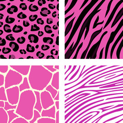 Fashion tiling pink animal print patterns. Vector.