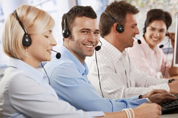 Happy customer service operator