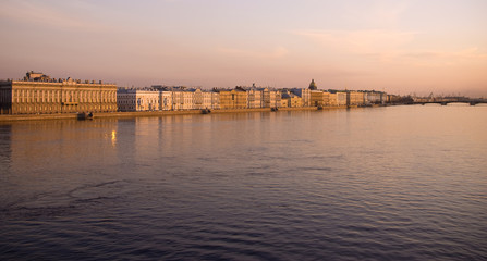 View of the Neva River in the evening