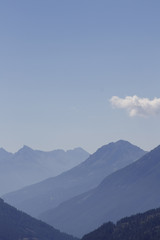 Mountain, distant blue mountains. French Alps