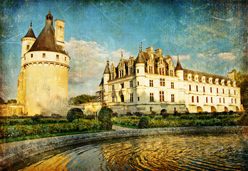 Chenonceau castle -picture in paintig style
