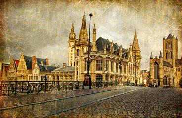 old gothic Belgium - Gent -retro styled picture