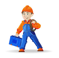 man in a helmet and tools