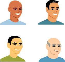 Man portrait avatar cartoon set